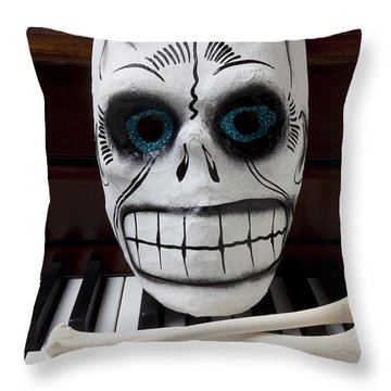Skull Mask With Bones Throw Pillow by Garry Gay