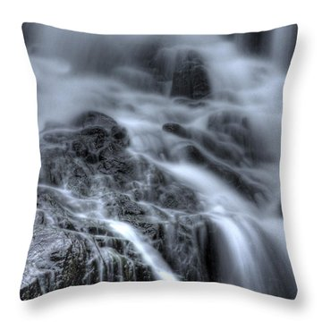 Skull On The Rocks Throw Pillow by Jeff Bord