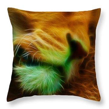 Sleeping Lion 2 Throw Pillow by Chris Thaxter