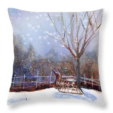 Sleigh Ride Throw Pillow by Wendy Cunico