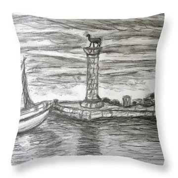Small Boats At Rhodes Port Throw Pillow by Augusta Stylianou