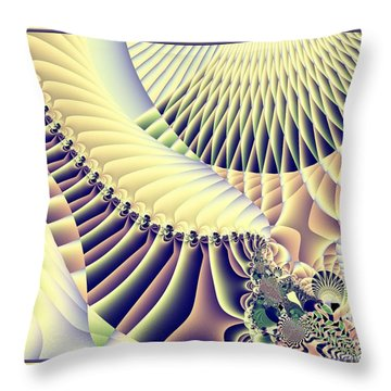 Snow Capped Mountains And Verdant Valleys Fractal 156 Throw Pillow by Rose Santuci-Sofranko