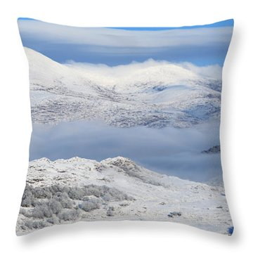 Snow Covered Landscape In Winter Near Throw Pillow by Peter Zoeller