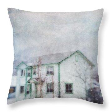 Snow Flurry 'round My Neighbor's House Throw Pillow by Priska Wettstein