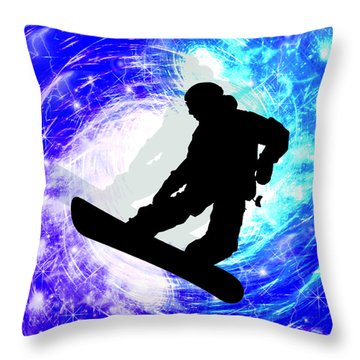 Snowboarder In Whiteout Throw Pillow by Elaine Plesser