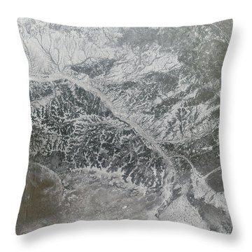 Snowy And Hazy Central Russia Showing Throw Pillow by Stocktrek Images