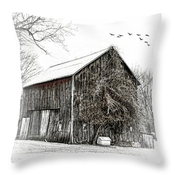 Snowy Morning Throw Pillow by Mary Timman