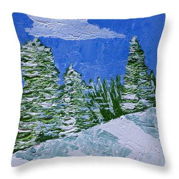 Snowy Pines Throw Pillow by Heidi Smith