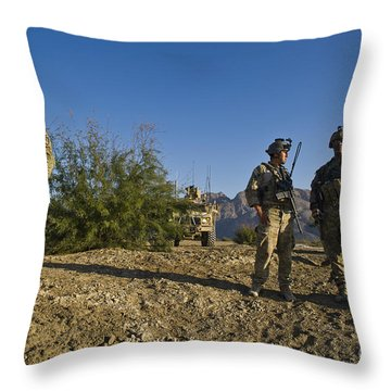 Soldiers Discuss A Strategic Plan Throw Pillow by Stocktrek Images