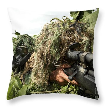 Soldiers Dressed In Ghillie Suits Throw Pillow by Stocktrek Images
