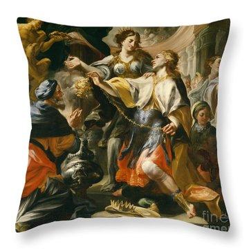 Solomon Worshiping The Pagan Gods Throw Pillow by Domenico Antonio Vaccaro