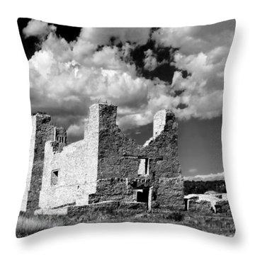 Spanish Mission Ruins Of Quarai Nm Throw Pillow by Christine Till