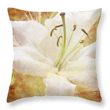 Sparkling Lily Throw Pillow by Clare Bambers