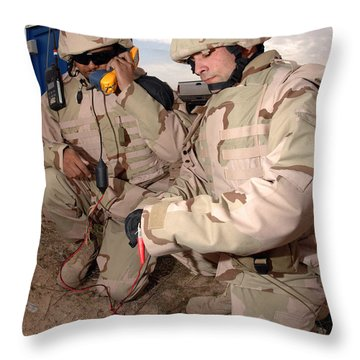 Specialists Testing Cutfield Wires Throw Pillow by Stocktrek Images
