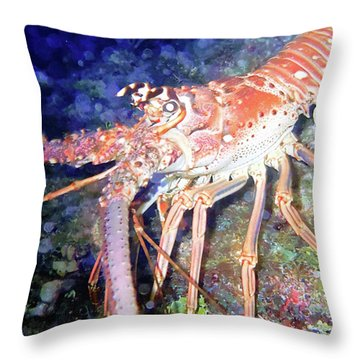 Spiney Lobster Throw Pillow by Barry Jones
