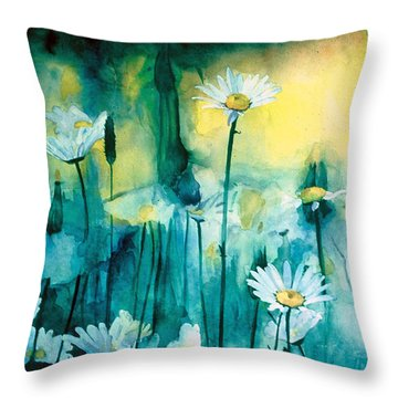Splash Of Daisies Throw Pillow by Cyndi Brewer