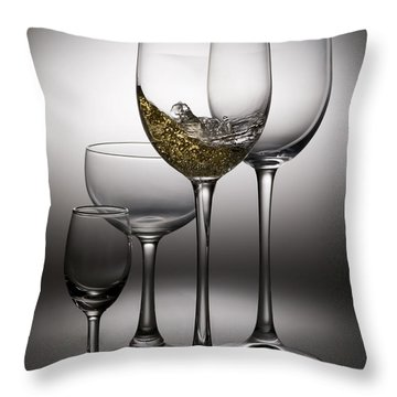 Splashing Wine In Wine Glasses Throw Pillow by Setsiri Silapasuwanchai