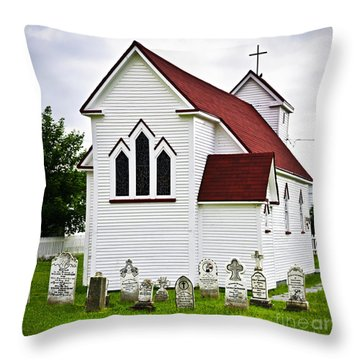 St. Luke's Church And Cemetery In Placentia Throw Pillow by Elena Elisseeva