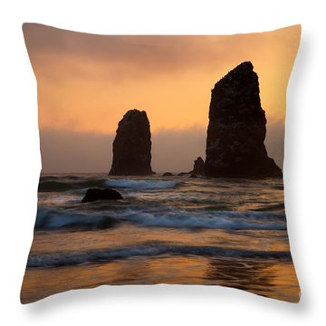 Stacks Of Gold Throw Pillow by Mike  Dawson