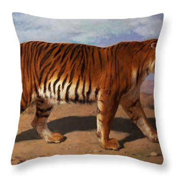 Stalking Tiger Throw Pillow by Rosa Bonheur