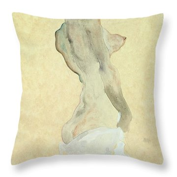 Standing Female Nude Throw Pillow by Egon Schiele
