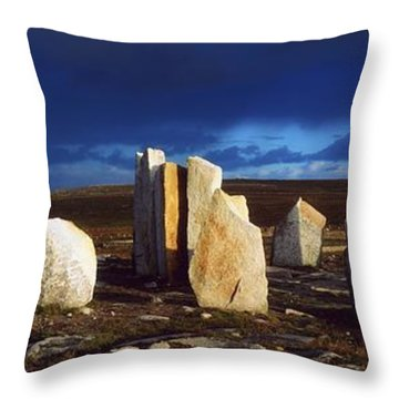 Standing Stones, Blacksod Point, Co Throw Pillow by The Irish Image Collection