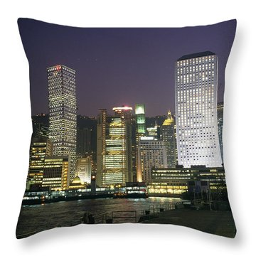 Star Ferry Terminal And Hong Kong Throw Pillow by Justin Guariglia
