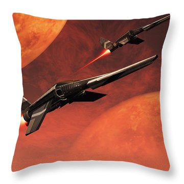 Star Fighters On A Routine Space Patrol Throw Pillow by Mark Stevenson