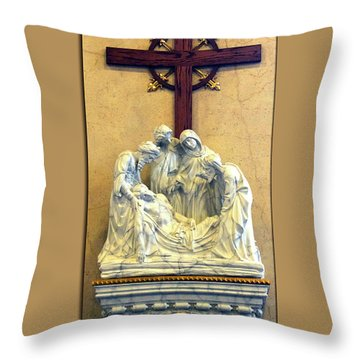 Station Of The Cross 14 Throw Pillow by Thomas Woolworth