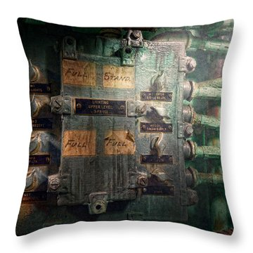 Steampunk - Naval - Electric - Lighting Control Panel Throw Pillow by Mike Savad