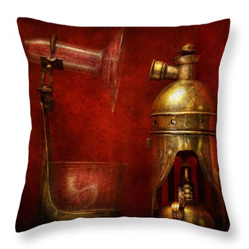 Steampunk - The Torch Throw Pillow by Mike Savad