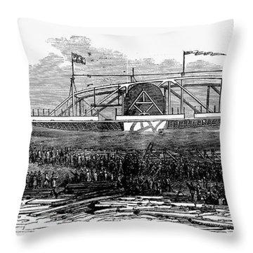 Steamship Launch, 1876 Throw Pillow by Granger