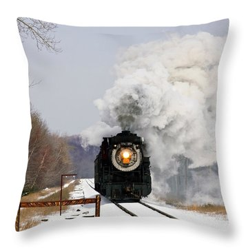 Steamtown Excursion Train Throw Pillow by Michael P Gadomski and Photo Researchers