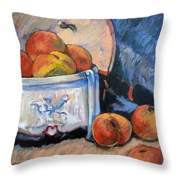 Still Life Peaches Throw Pillow by Tom Roderick