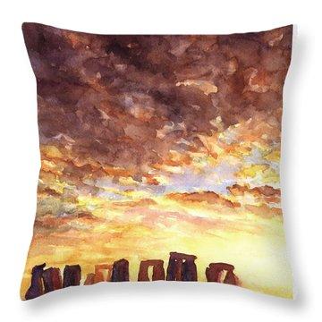 Stonehenge Sunrise Throw Pillow by Ryan Fox