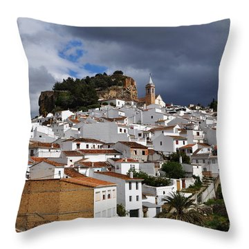 Storm Clouds Over Ardales Spain Throw Pillow by Mary Machare