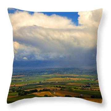 Storm Over The Kittitas Valley Throw Pillow by Mike  Dawson