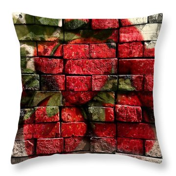 Strawberries On Bricks Throw Pillow by Barbara Griffin