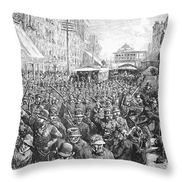 Street Car Strike, 1886 Throw Pillow by Granger