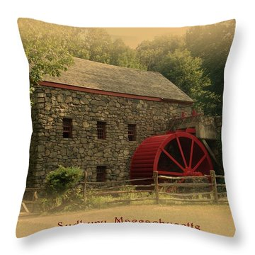 Sudbury Grist Mill Throw Pillow by Patricia Urato