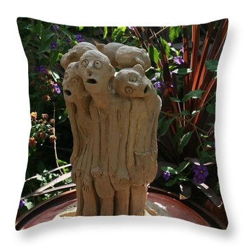 Suffering Circle Ceramic Sculpture Brown Clay  Throw Pillow by Rachel Hershkovitz