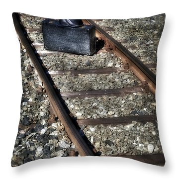 Suitcase And Hats Throw Pillow by Joana Kruse