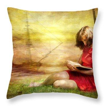 Summer Reading Throw Pillow by Svetlana Sewell