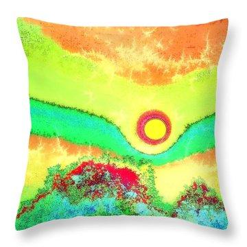 Sun Crackle Throw Pillow by Kay Sawyer