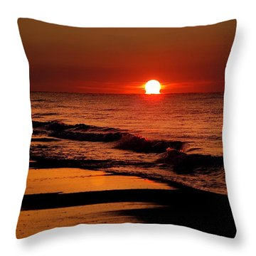 Sun Emerging From The Water Throw Pillow by Michael Thomas