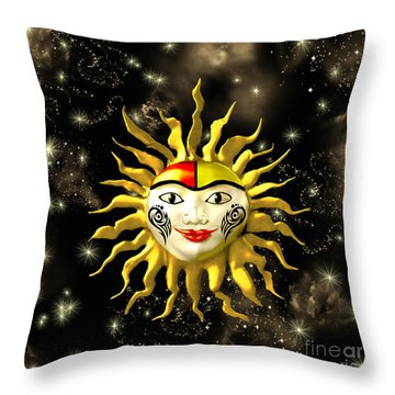 Sun Face  Throw Pillow by Methune Hively
