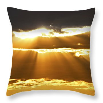 Sun Rays At Sunset Sky Throw Pillow by Elena Elisseeva