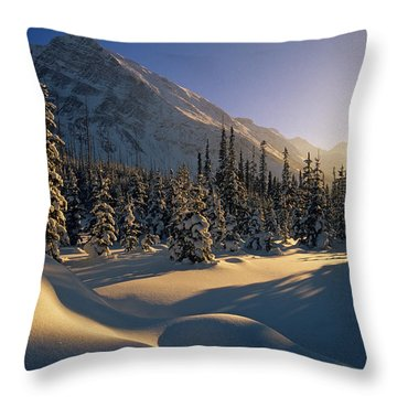 Sun Setting Behind Trees And Mountain Throw Pillow by Mike Grandmailson