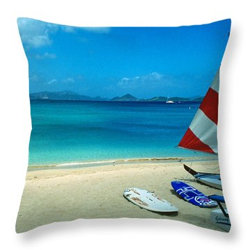 Sunfish On The Beach Throw Pillow by Kathy Yates