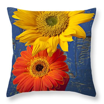 Sunflower And Mum Throw Pillow by Garry Gay